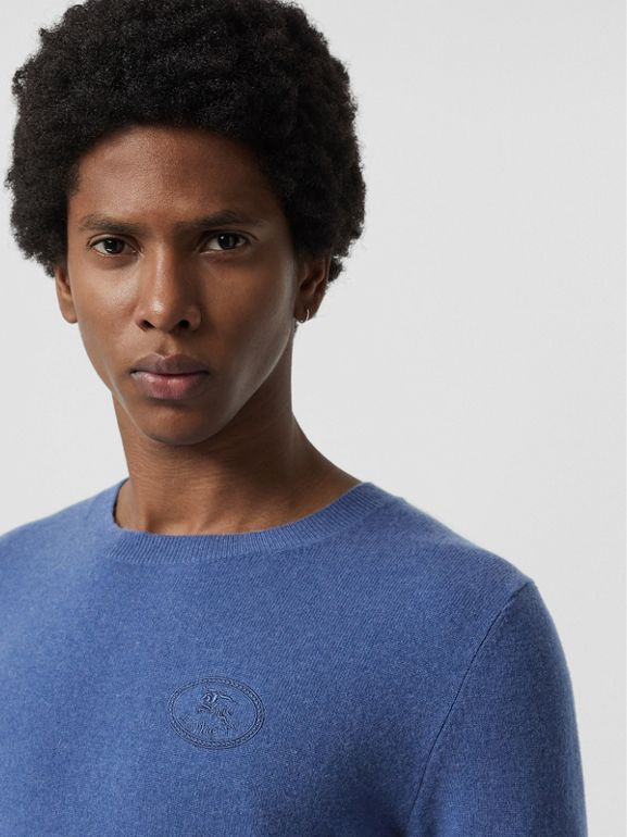 Embroidered Logo Cashmere Sweater in Dusty Blue - Men | Burberry - cell image 1