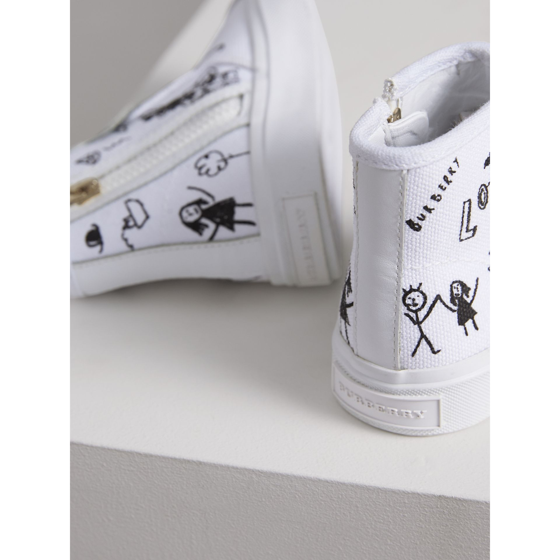 Doodle Print High-top Trainers in Optic White | Burberry - gallery image 3