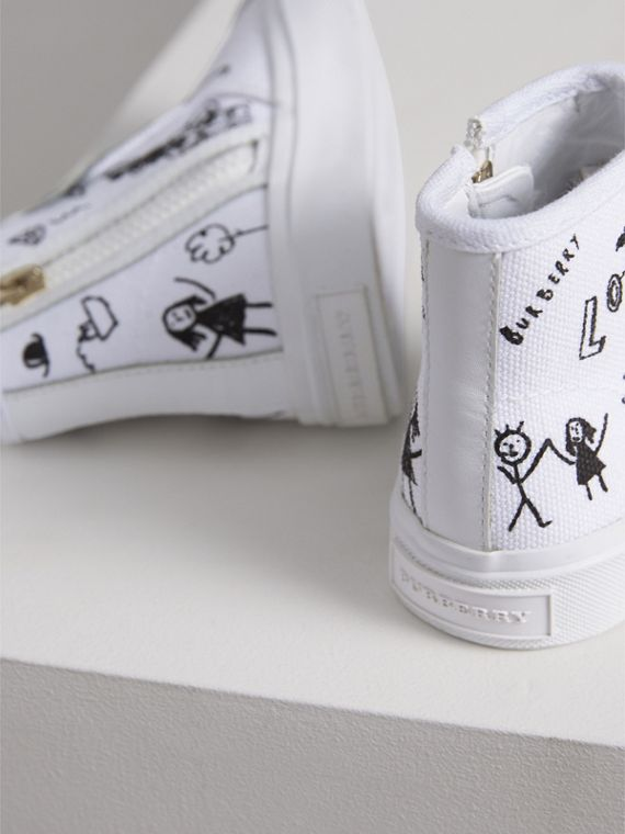 Doodle Print High-top Trainers in Optic White | Burberry - cell image 2