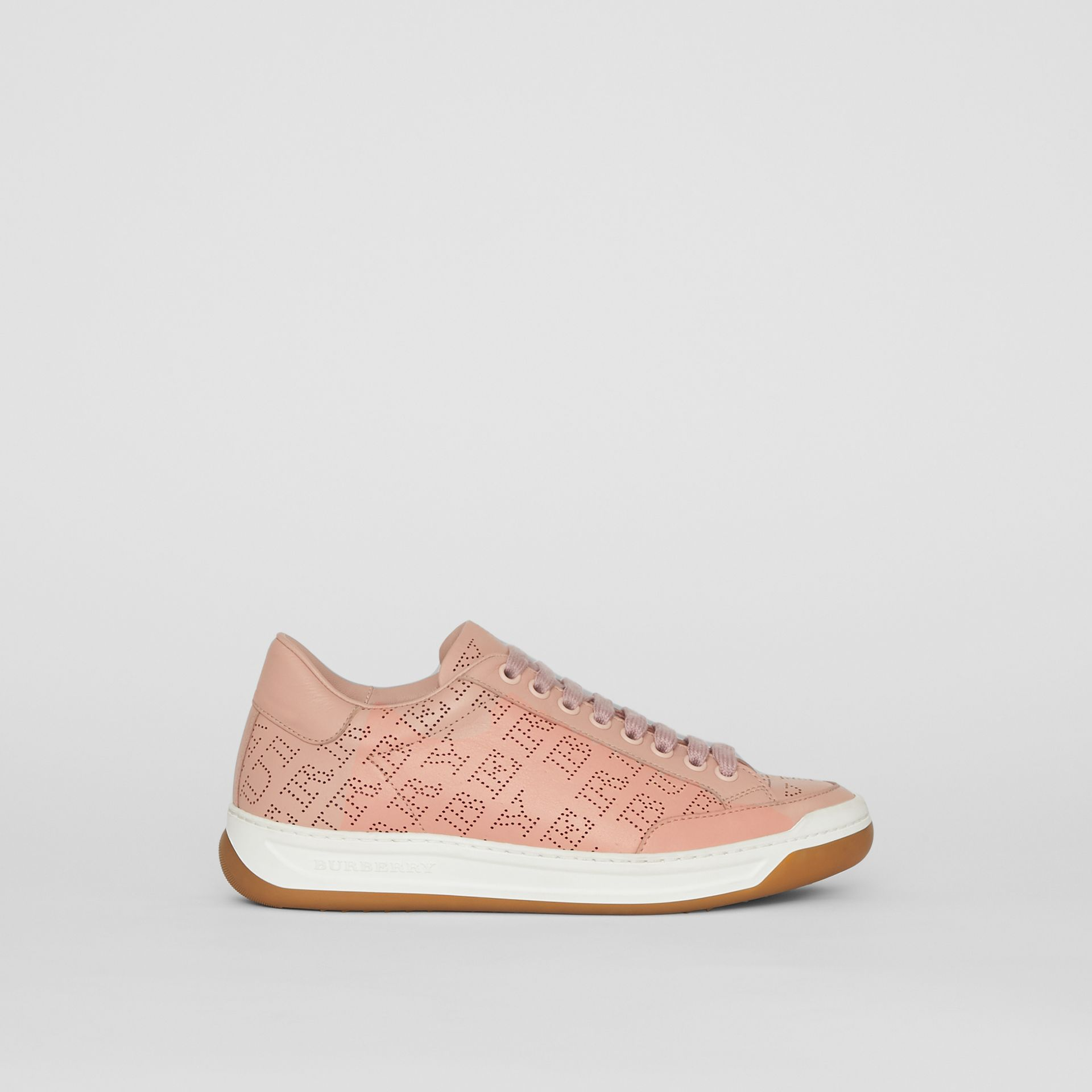 Perforated Logo Leather Sneakers in Pale Fawn Pink - Women | Burberry United Kingdom - gallery image 0