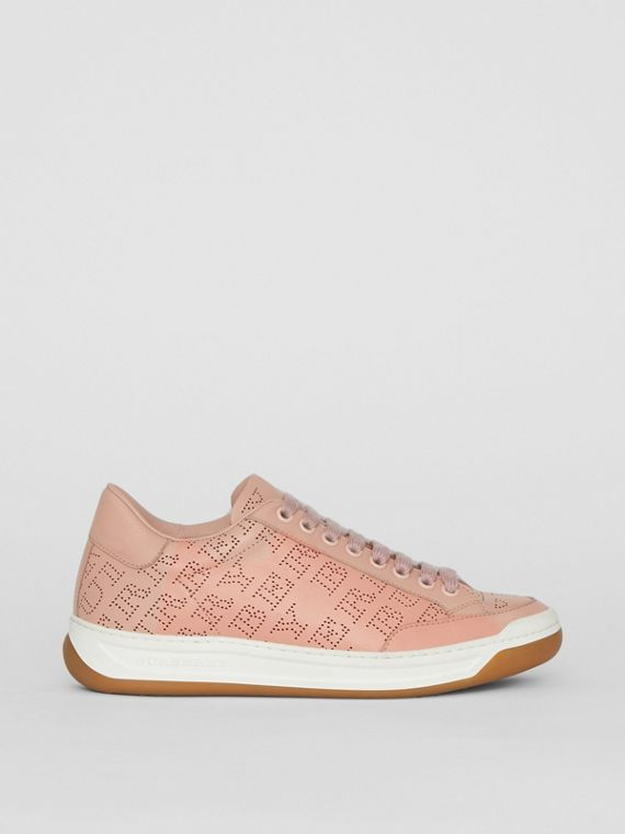 Perforated Logo Leather Sneakers in Pale Fawn Pink