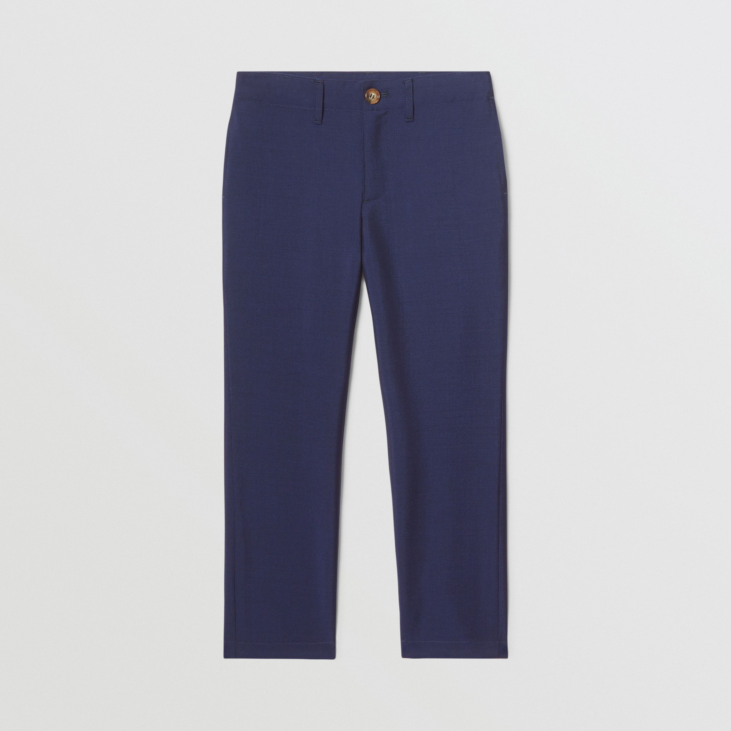 Wool Mohair Tailored Trousers in Navy | Burberry - 1