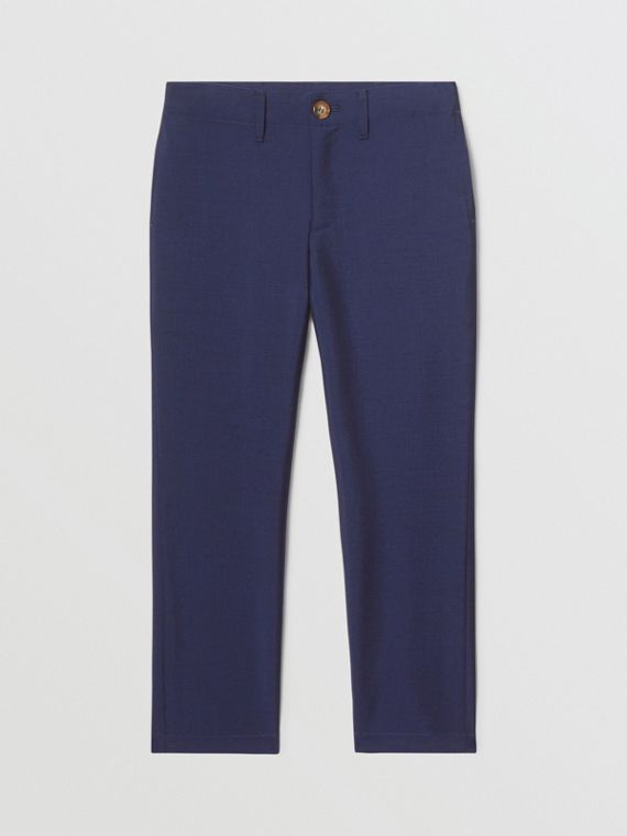 Wool Mohair Tailored Trousers in Navy