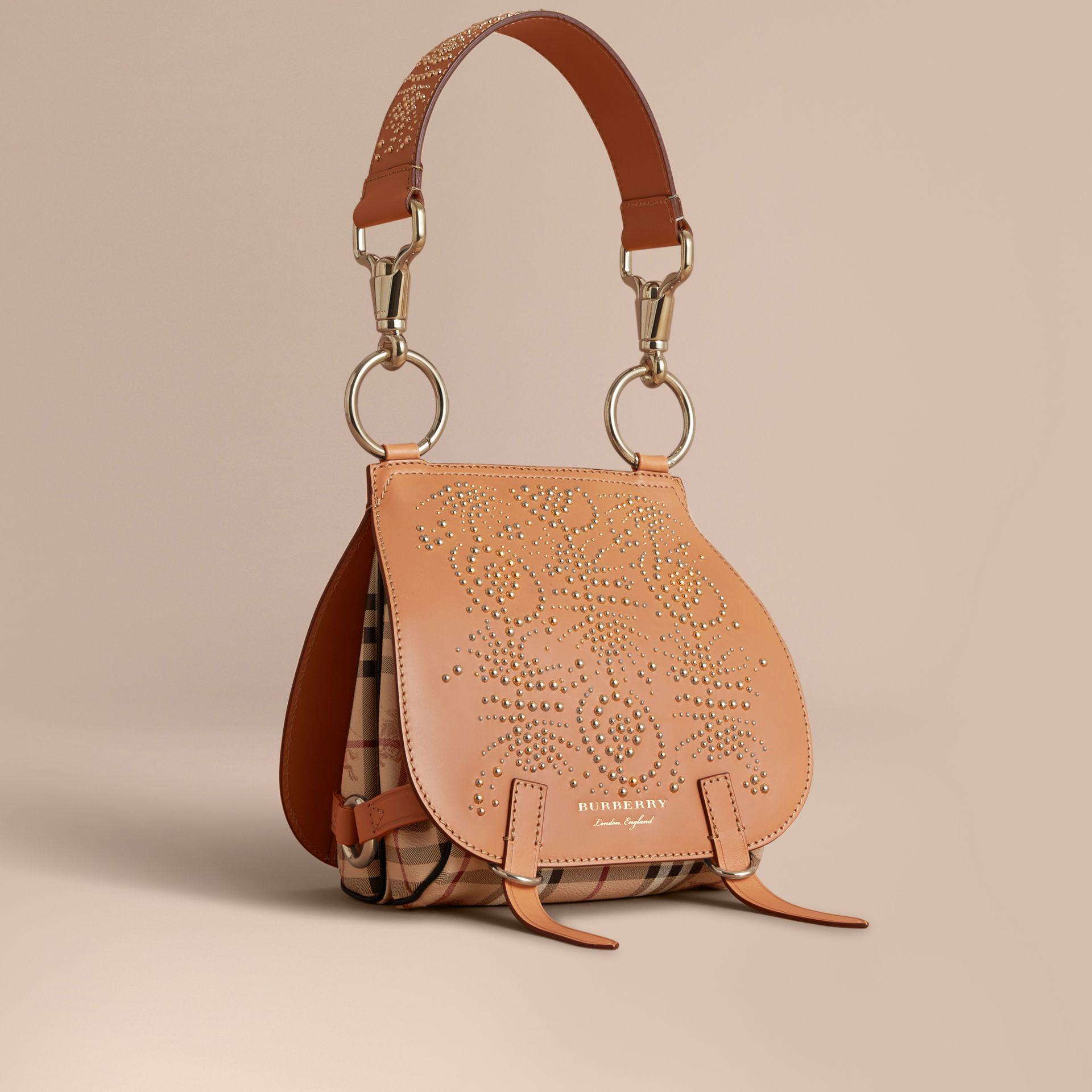 The Bridle Bag in Fruit and Flowers Riveted Leather Pale Clementine - gallery image 1