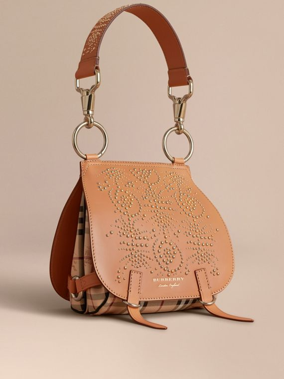 Bolsa Bridle de couro com rebites e estampa Fruit and Flowers (Clementina Claro)