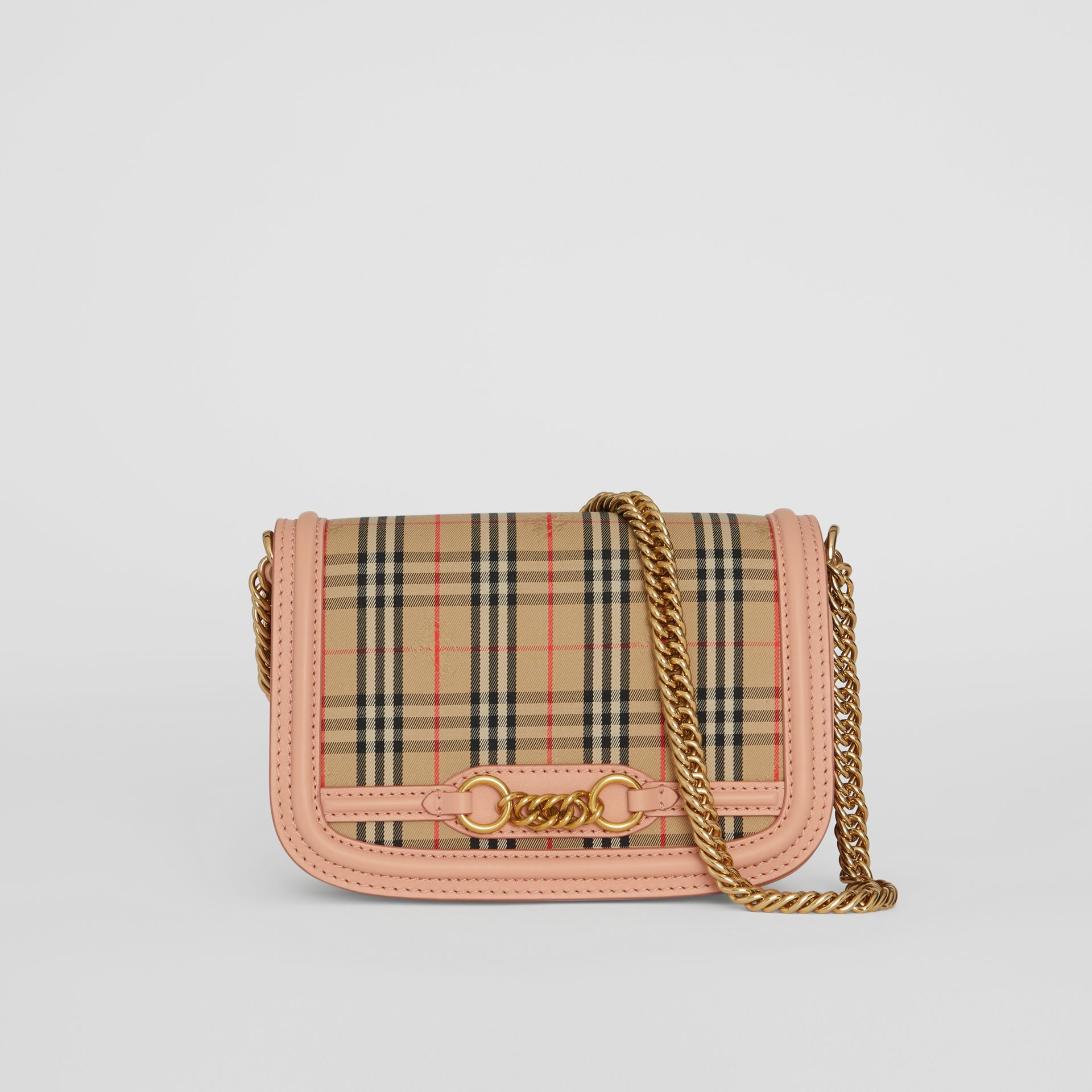 The 1983 Check Link Bag with Leather Trim in Peach - Women | Burberry - gallery image 0