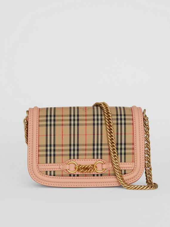 The 1983 Check Link Bag with Leather Trim in Peach