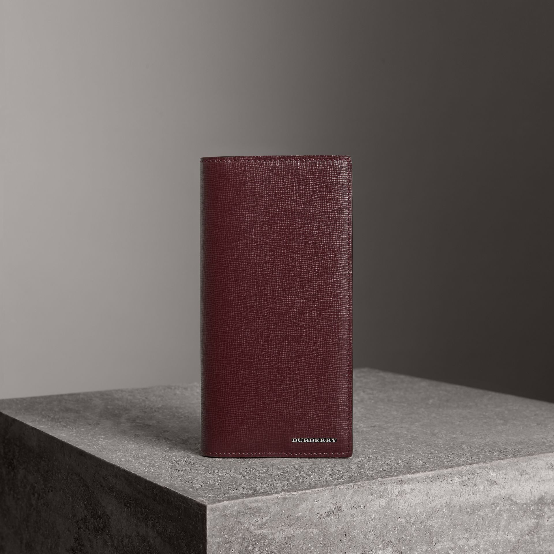 London Leather Continental Wallet in Burgundy Red - Men | Burberry Australia - gallery image 0