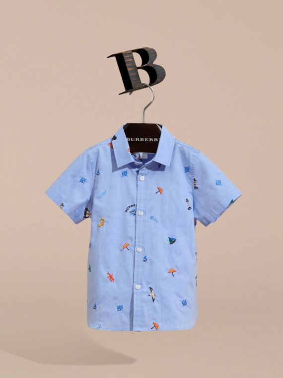 Embroidered Nautical Motif Cotton Oxford Shirt in Cornflower Blue - Boy | Burberry - cell image 2