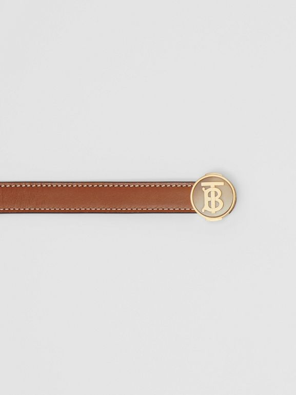 Monogram Motif Leather Belt in Tan - Women | Burberry Canada - cell image 1