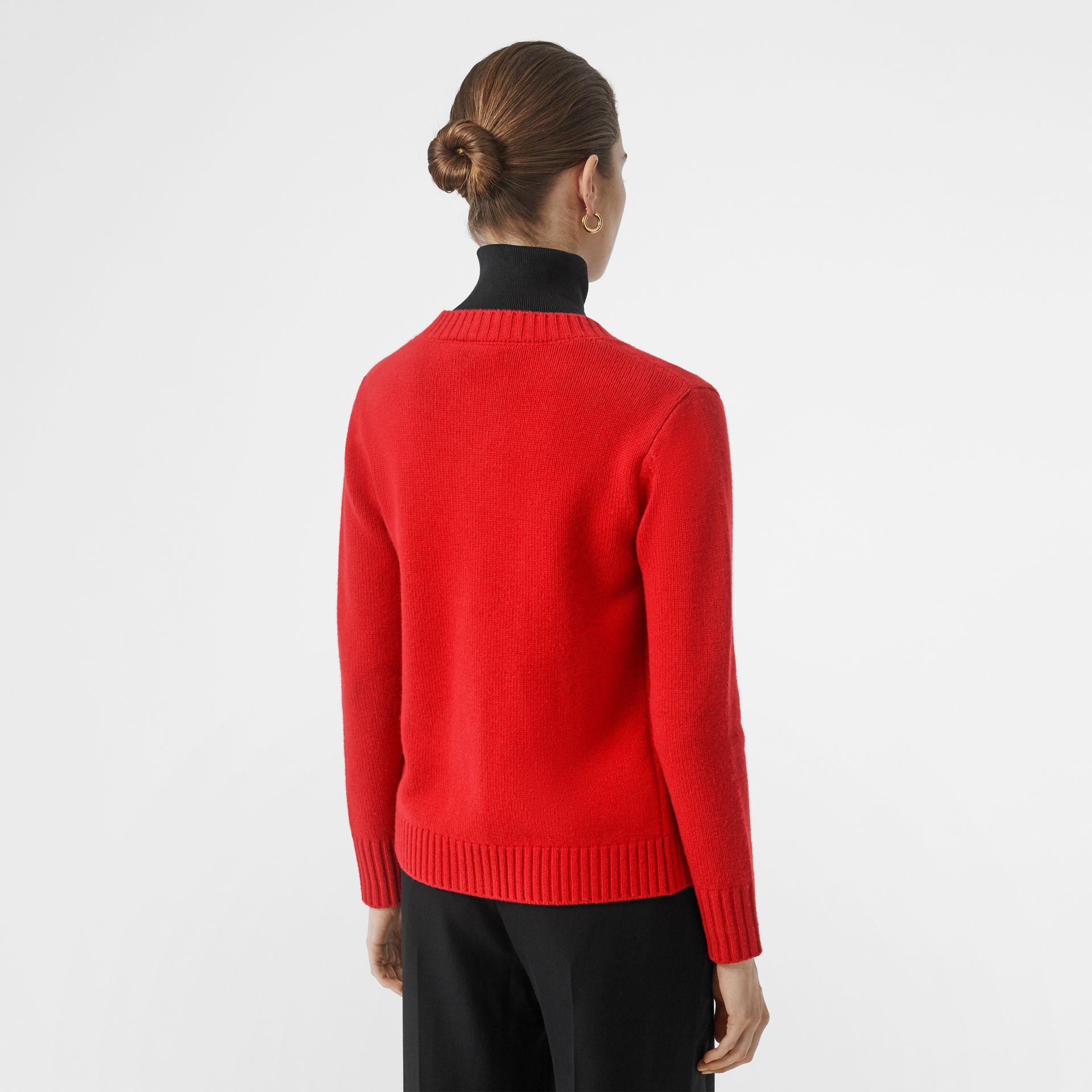 Logo Button Cashmere Crew Neck Cardigan in Bright Red - Women | Burberry - gallery image 2
