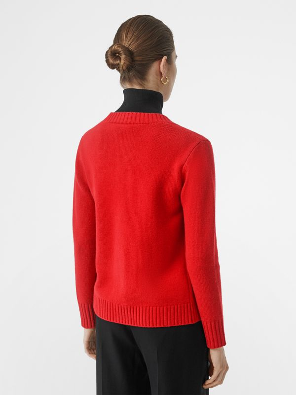 Logo Button Cashmere Crew Neck Cardigan in Bright Red - Women | Burberry - cell image 2