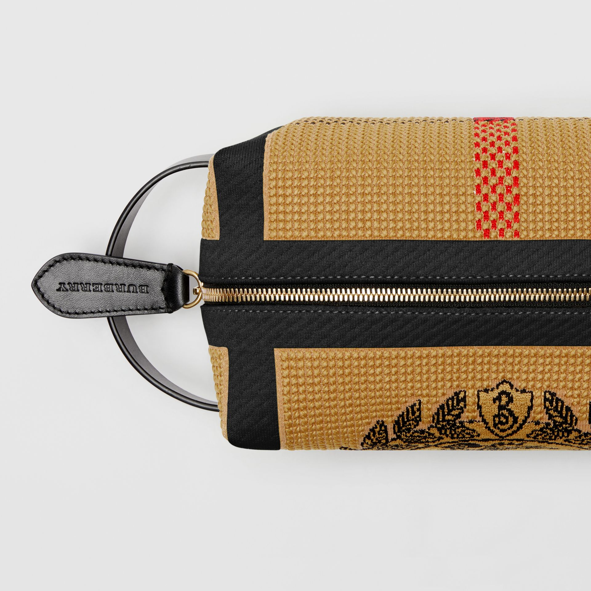 Archive Crest Knitted Pouch in Black | Burberry United States - gallery image 1
