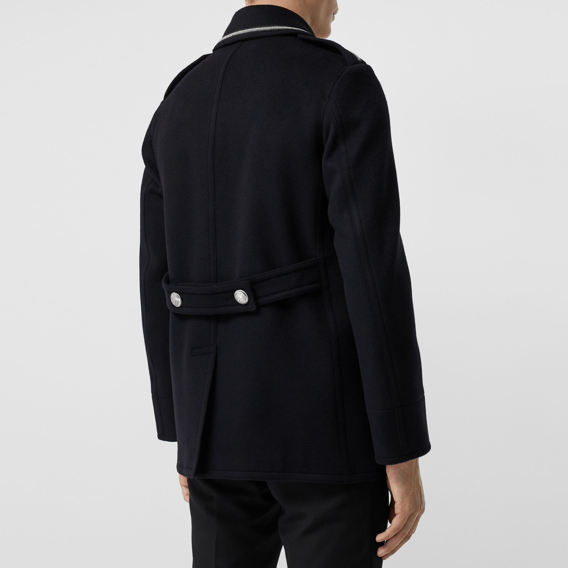 Bullion Wool Cashmere Pea Coat in Dark Navy - Men | Burberry Singapore - gallery image 2