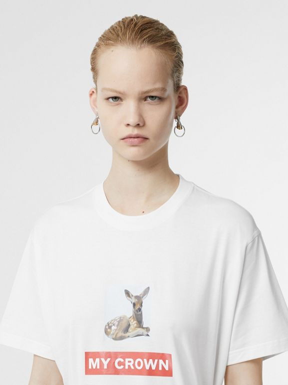 Montage Print Cotton Oversized T-shirt in White - Women | Burberry United Kingdom - cell image 1