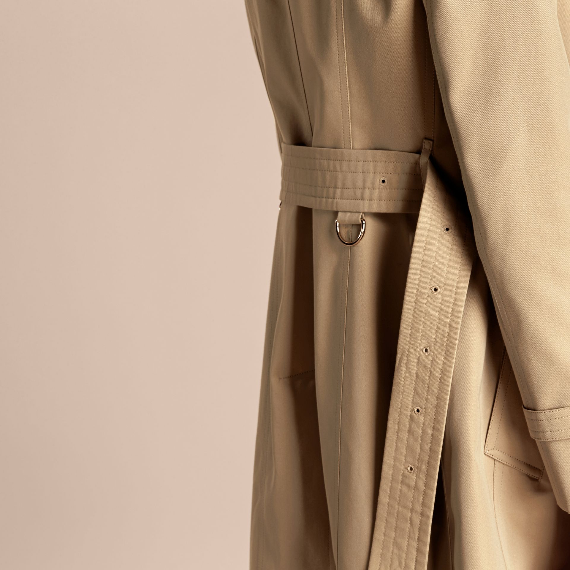 Honey Cotton Gabardine Trench Coat with Regimental Piping - gallery image 7