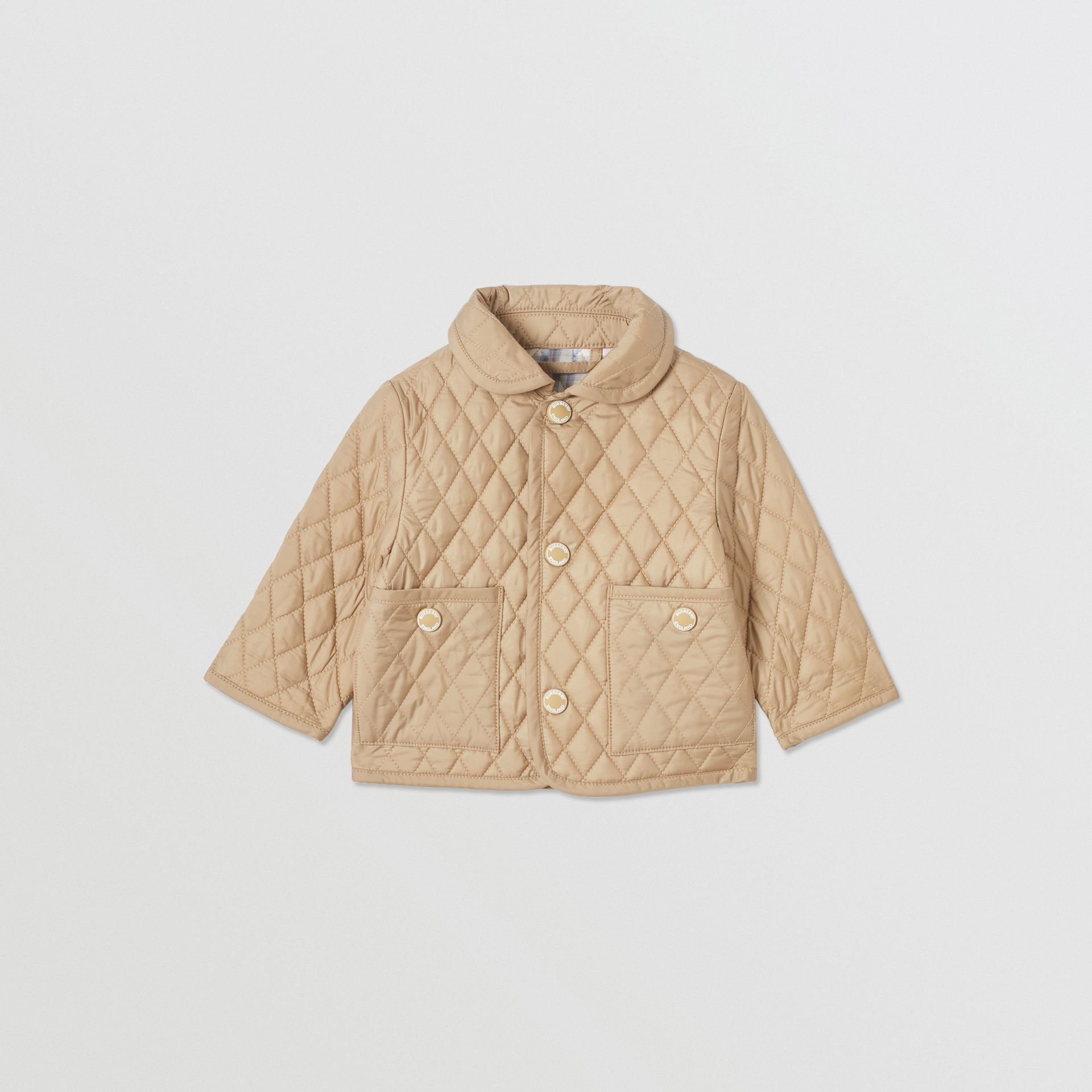 Showerproof Diamond Quilted Jacket in Walnut - Children | Burberry Hong Kong S.A.R - gallery image 0