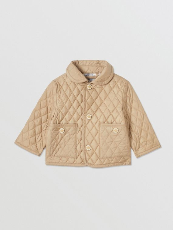 Showerproof Diamond Quilted Jacket in Walnut
