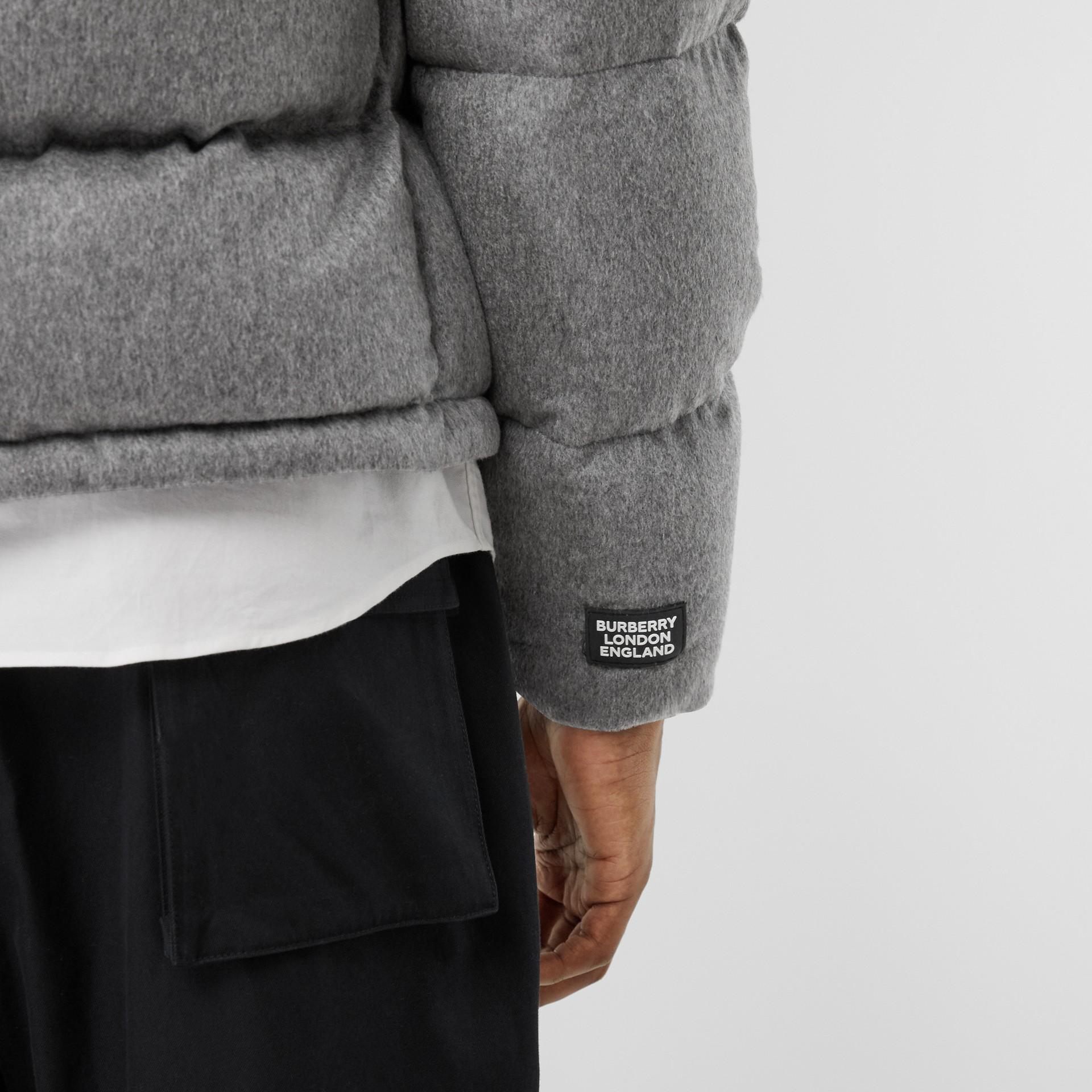 Detachable Sleeve Cashmere Hooded Puffer Jacket in Mid Grey Melange - Men   Burberry United Kingdom - gallery image 5