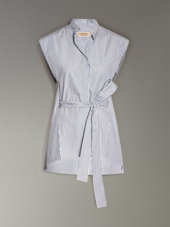 Striped Cotton Sleeveless Shirt in Pale Blue - Women | Burberry - cell image 3