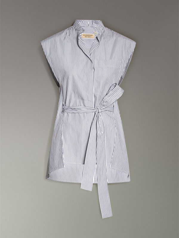Striped Cotton Sleeveless Shirt in Pale Blue - Women | Burberry United Kingdom - cell image 3