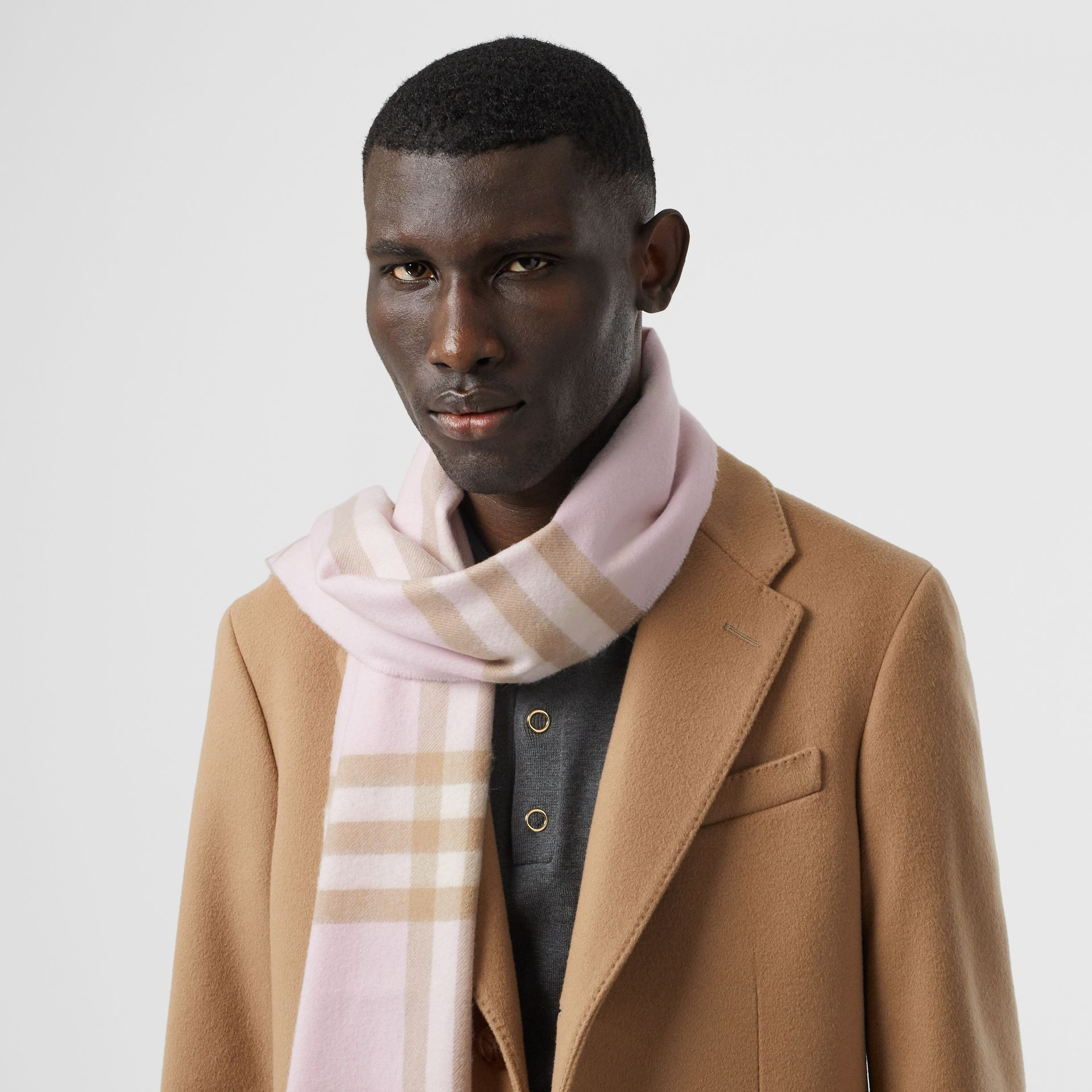The Classic Check Cashmere Scarf in Alabaster | Burberry United Kingdom - gallery image 3