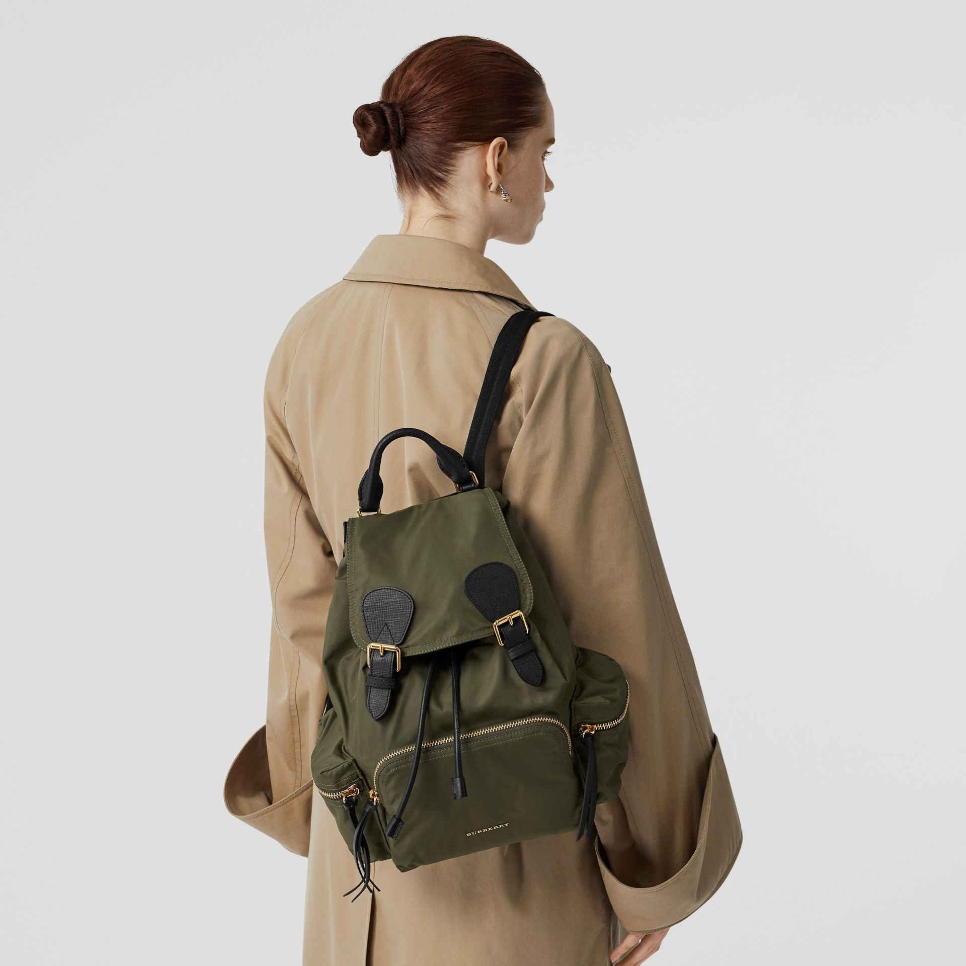 The Medium Rucksack in Technical Nylon and Leather in Canvas Green - Women | Burberry - gallery image 2