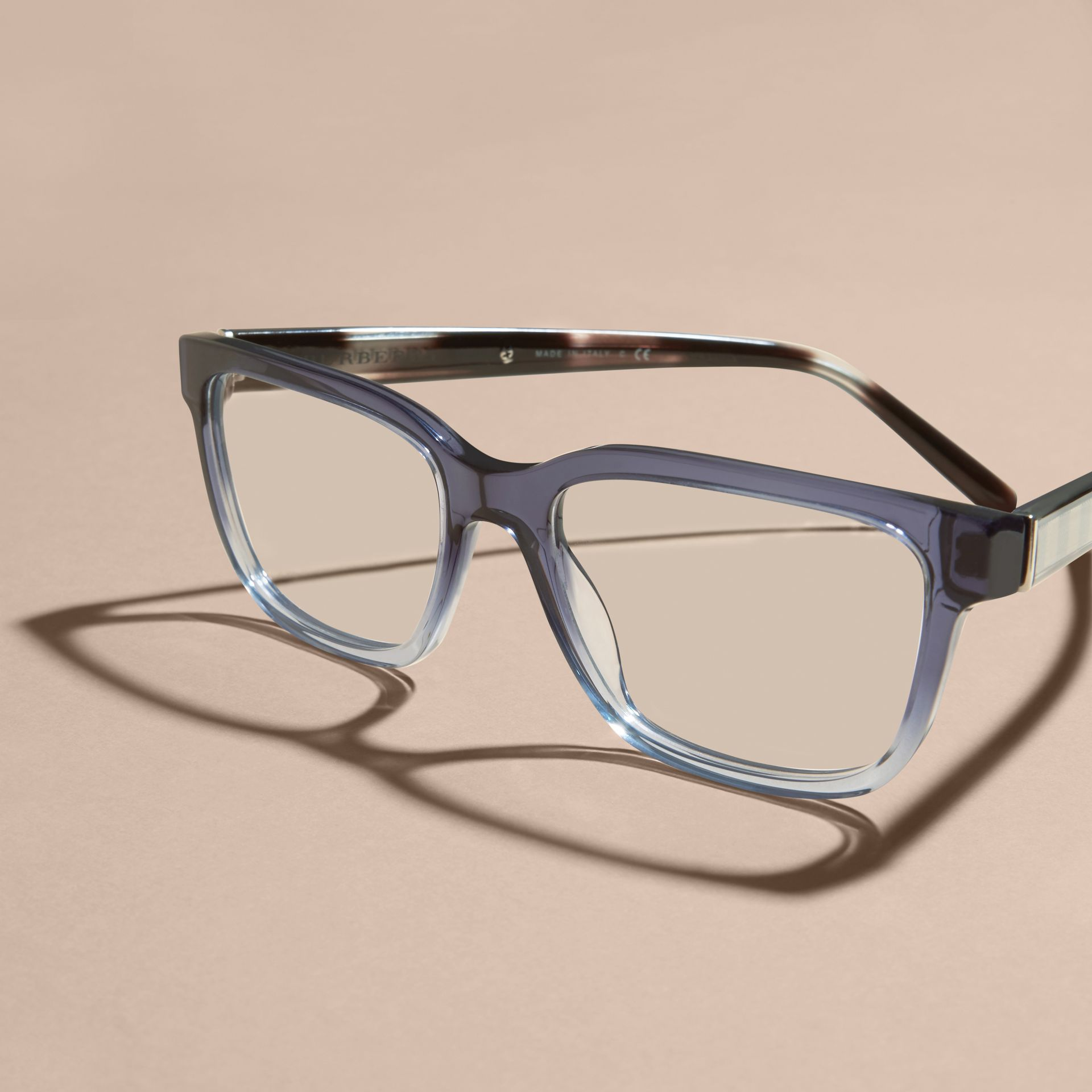Blue Check Detail Rectangular Optical Frames Blue - gallery image 3