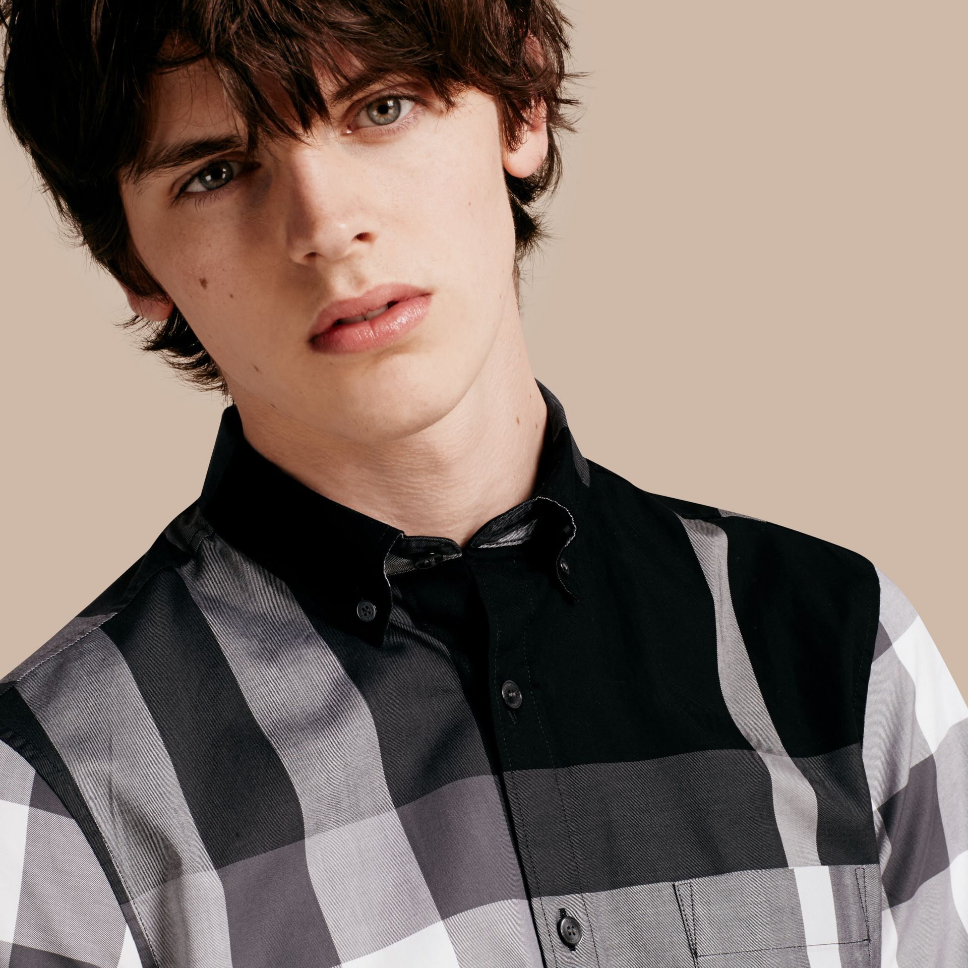 Black Short-sleeved Check Cotton Shirt Black - gallery image 5