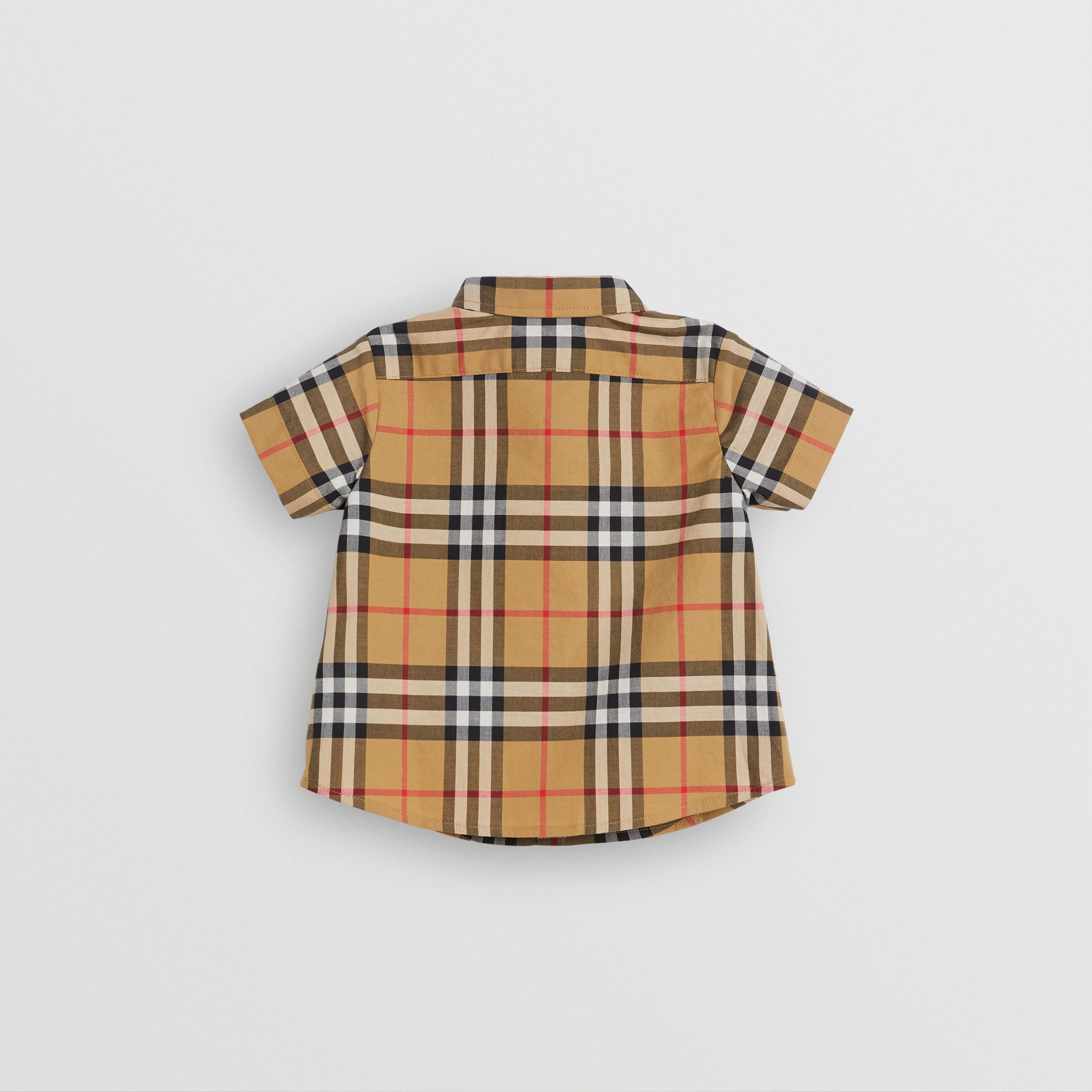 Short-sleeve Vintage Check Cotton Shirt in Antique Yellow - Children | Burberry - 4