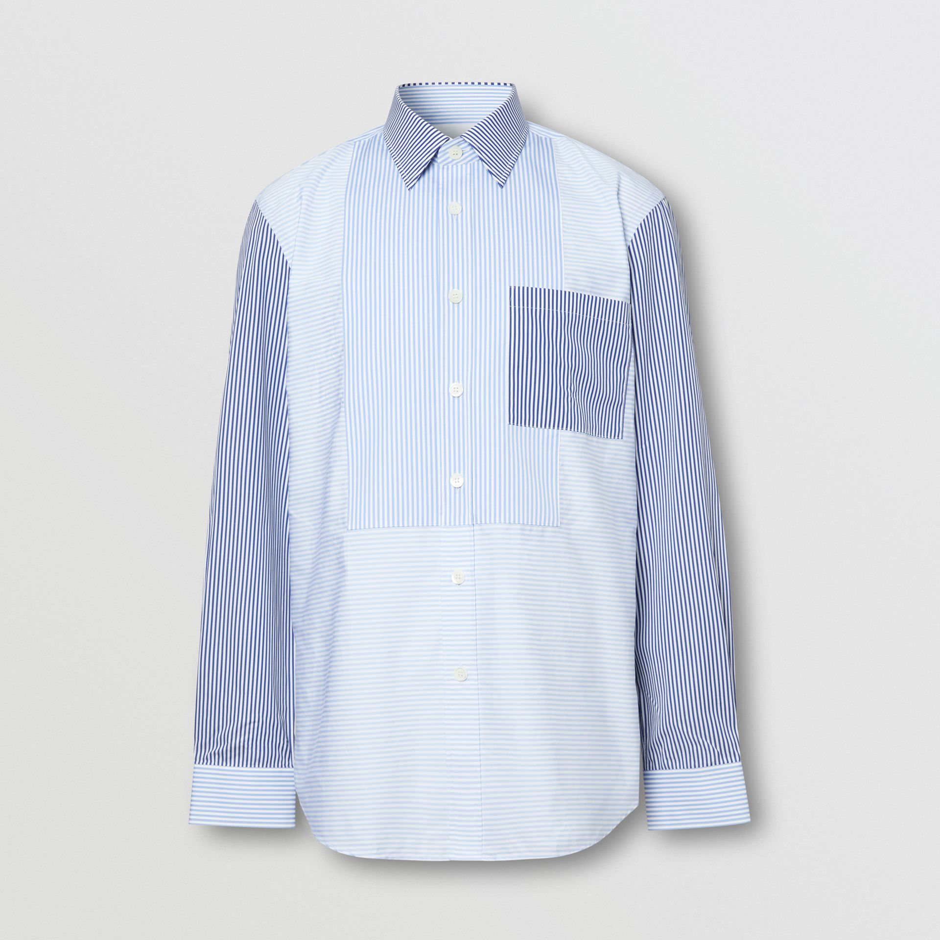 Classic Fit Patchwork Striped Cotton Shirt in Light Blue - Men | Burberry United Kingdom - gallery image 3