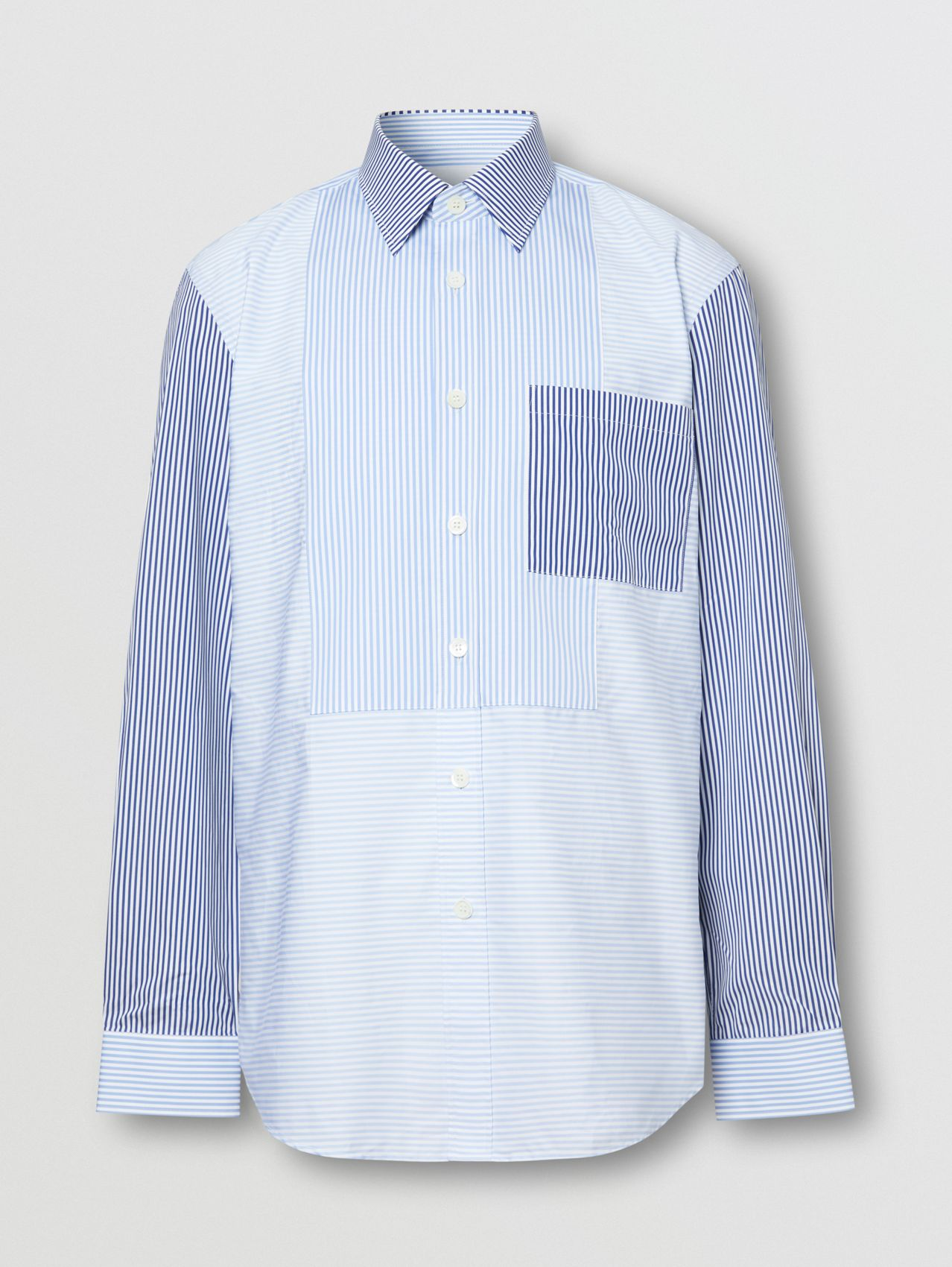 Classic Fit Patchwork Striped Cotton Shirt in Light Blue
