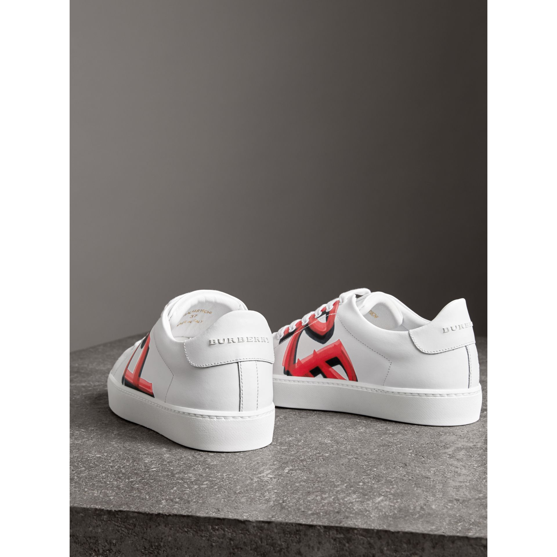 Graffiti Print Leather Sneakers in Bright Red - Women | Burberry United Kingdom - gallery image 3