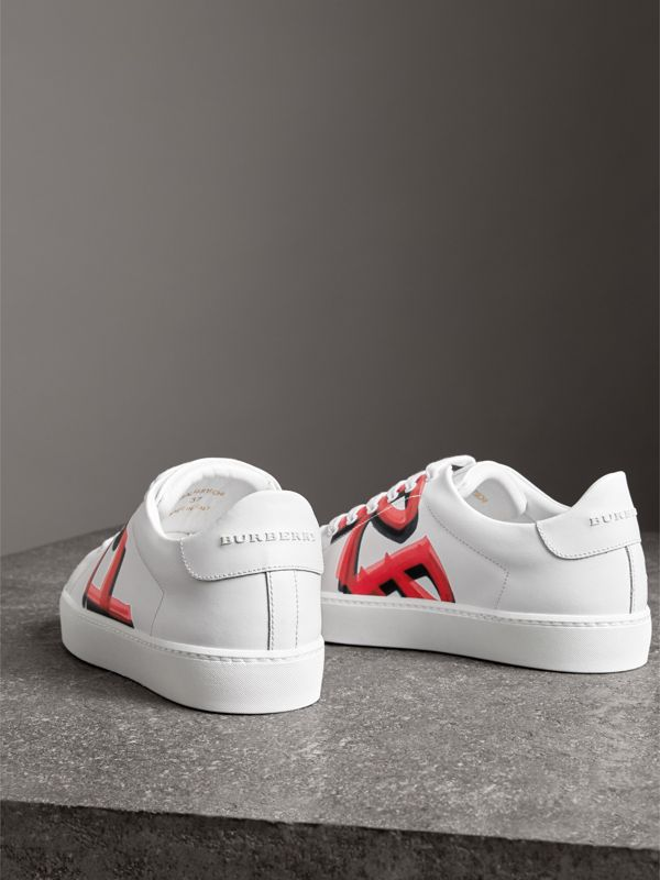 Graffiti Print Leather Sneakers in Bright Red - Women | Burberry - cell image 3