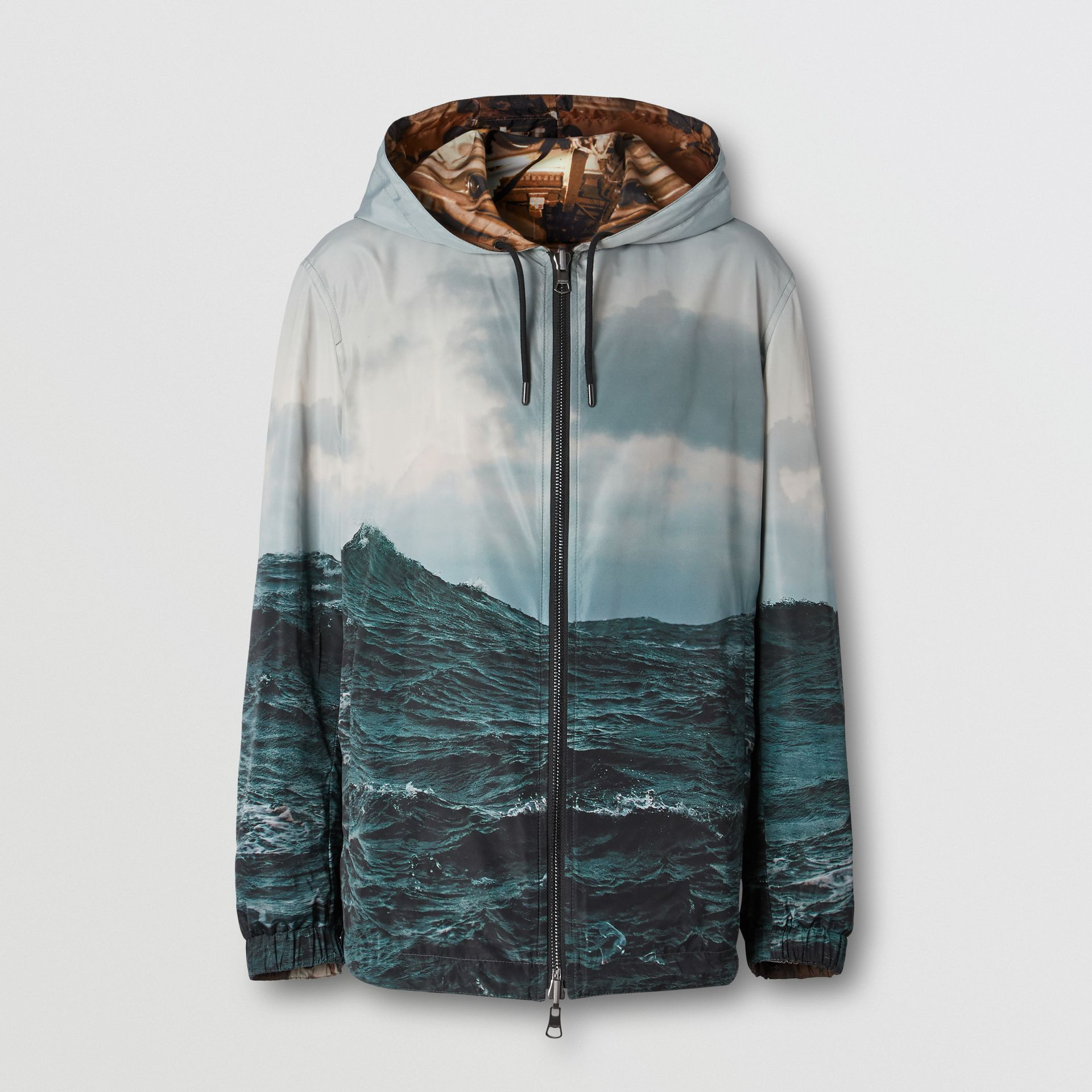Reversible Submarine Print Nylon Hooded Jacket in Bronze - Men | Burberry - gallery image 6