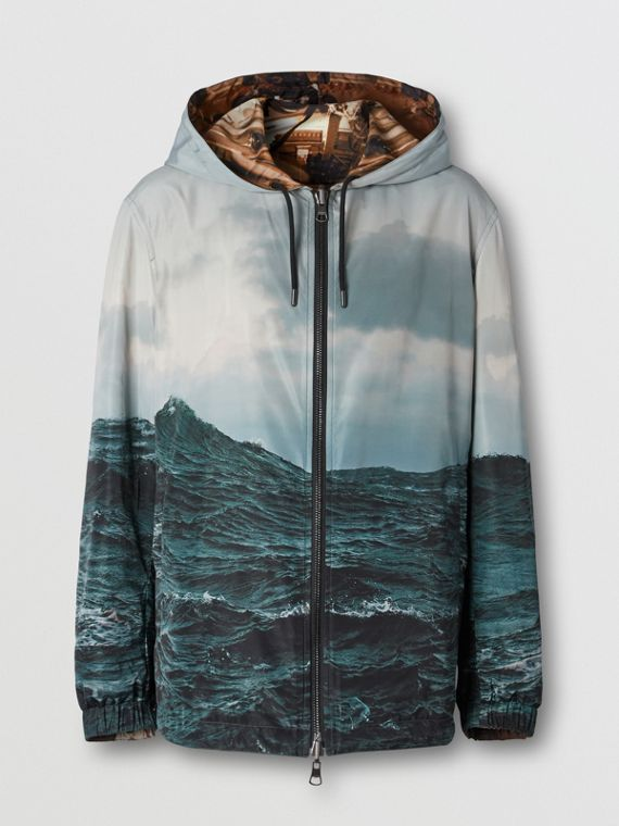 Reversible Submarine Print Nylon Hooded Jacket in Bronze