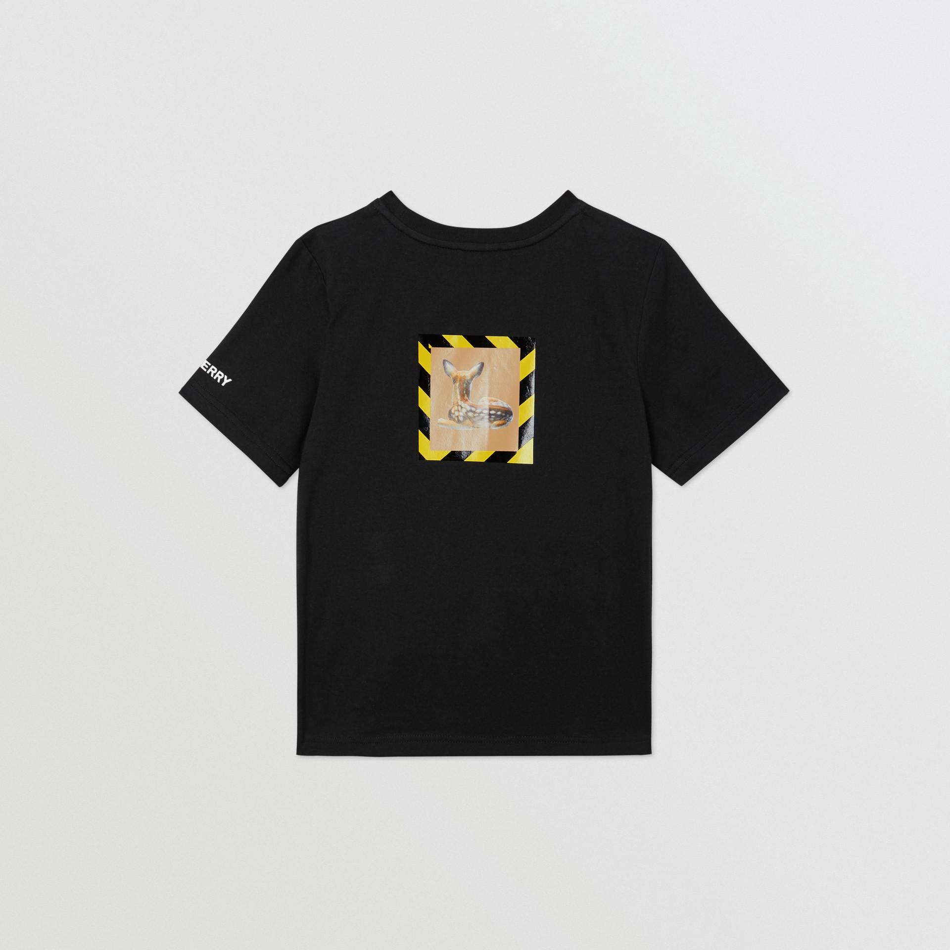 Deer Print Cotton T-shirt in Black   Burberry Australia - gallery image 4