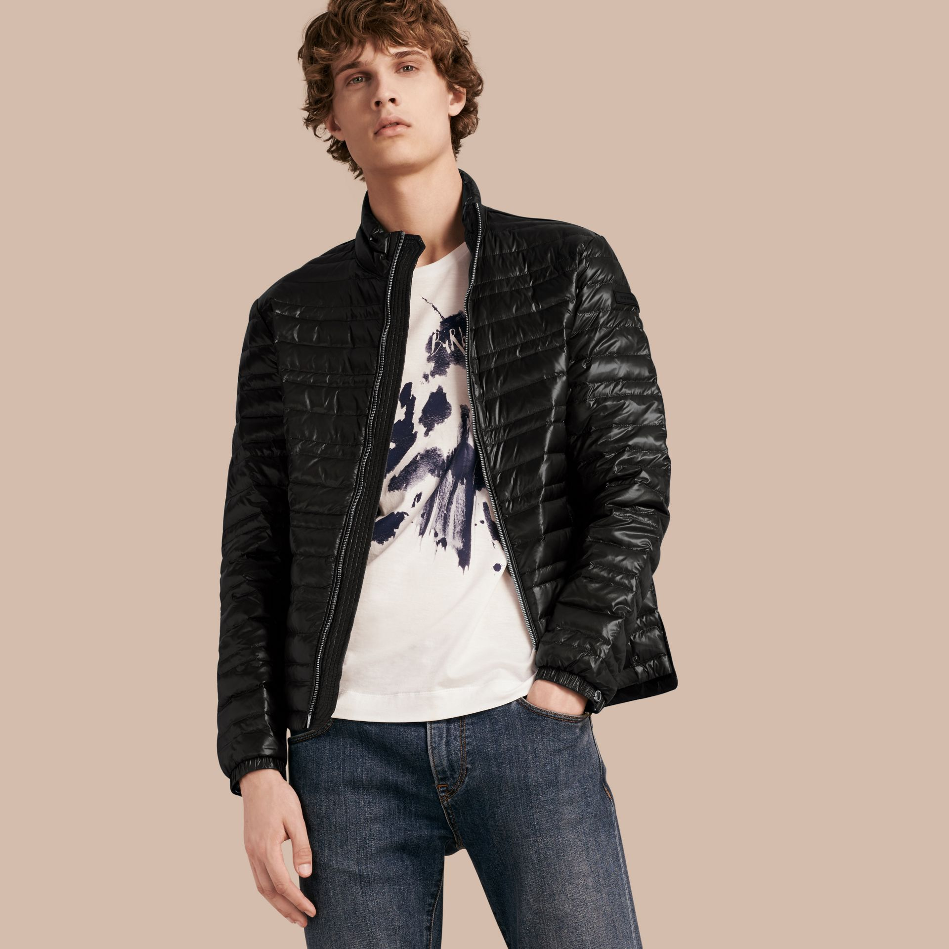 Lightweight Down-filled Jacket in Black - gallery image 1