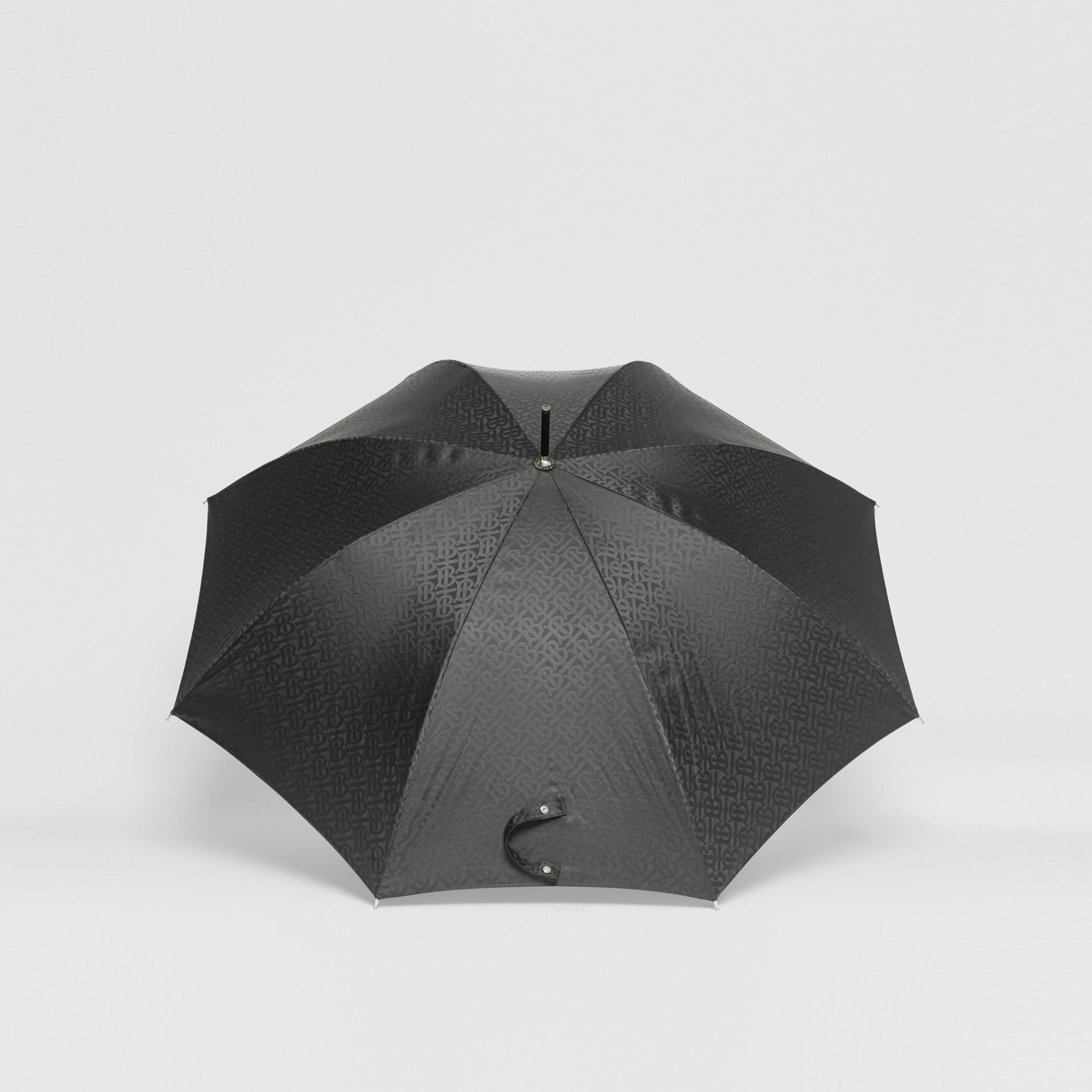 Monogram Print Umbrella in Black | Burberry United States - gallery image 4