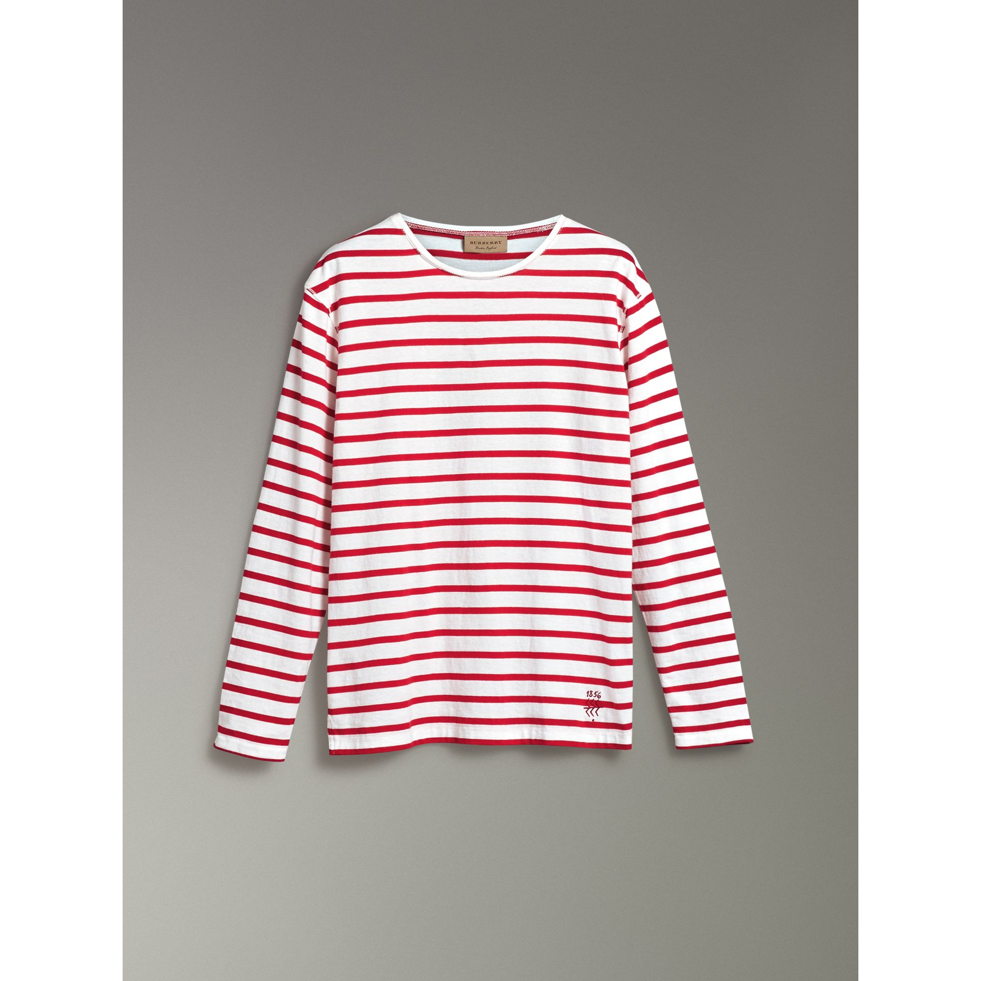 Breton Stripe Cotton Jersey Top in Red/white - Men | Burberry - gallery image 3