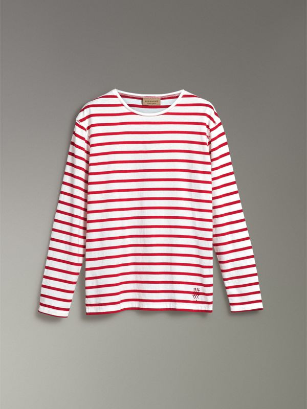 Breton Stripe Cotton Jersey Top in Red/white - Men | Burberry United Kingdom - cell image 3