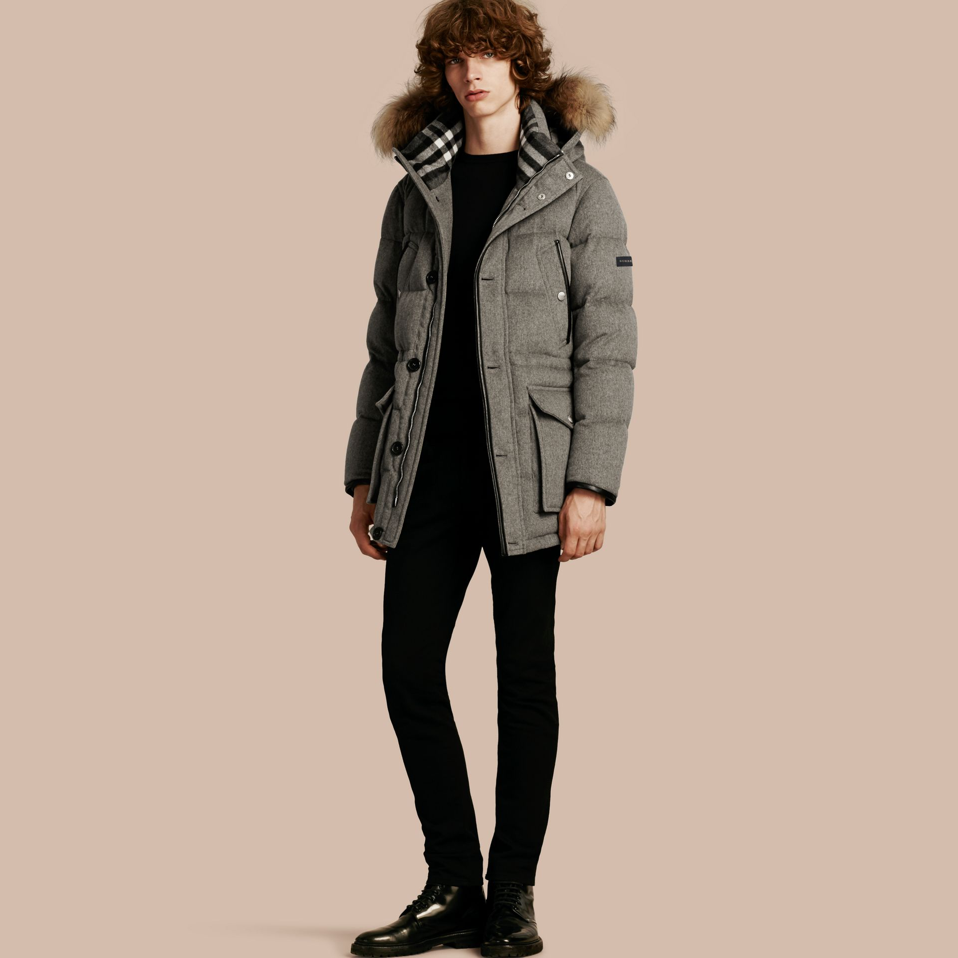 Down-filled Cashmere Parka with Detachable Fur Trim in Mid Grey Melange - gallery image 1