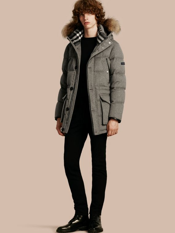 Down-filled Cashmere Parka with Detachable Fur Trim Mid Grey Melange