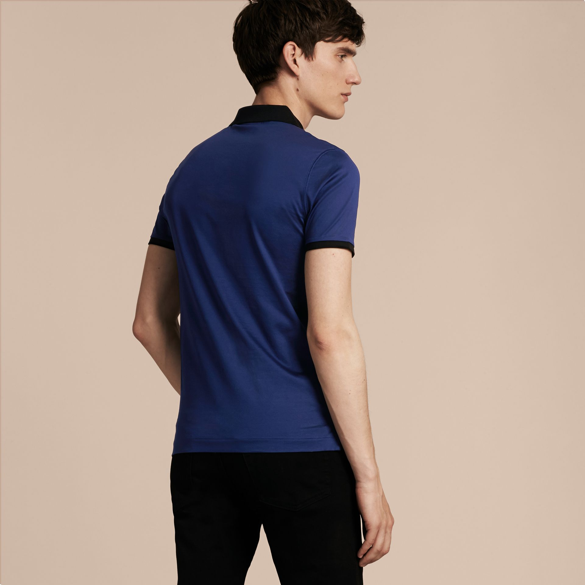Indigo Fitted Cotton Polo Shirt with Tonal Trim Indigo - gallery image 3
