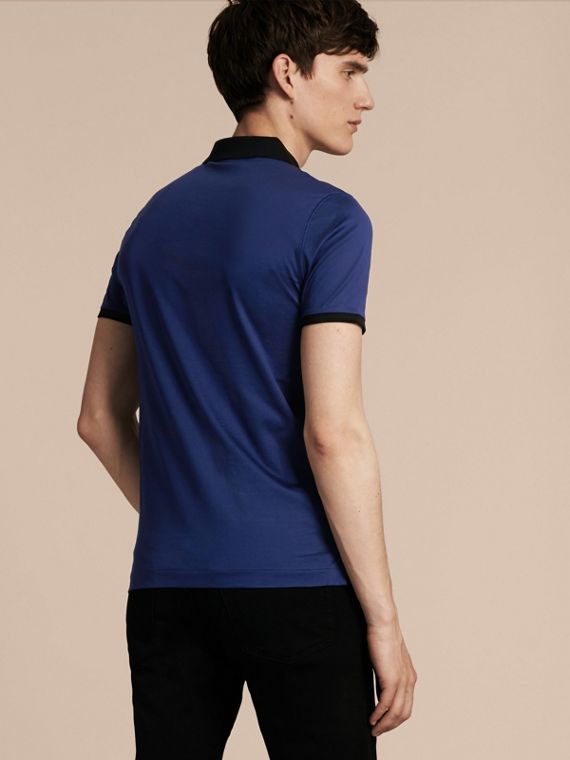 Indigo Fitted Cotton Polo Shirt with Tonal Trim Indigo - cell image 2