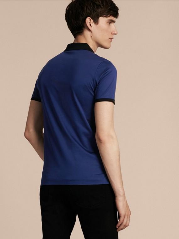 靛青 同色系飾邊合身棉質 Polo 衫 靛青 - cell image 2