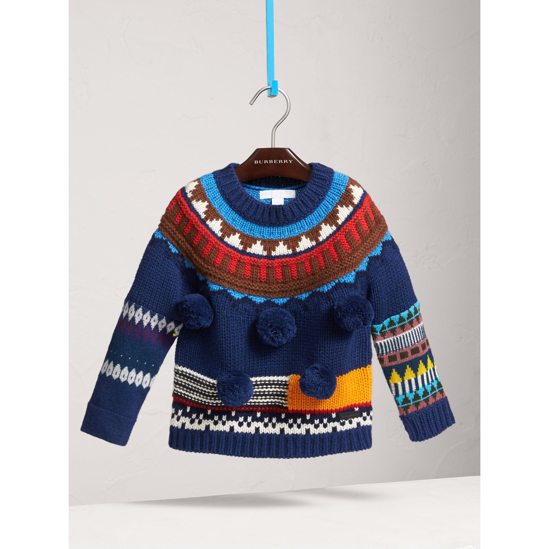 Pom-pom Fair Isle Wool Cashmere Sweater in Navy/red - Girl | Burberry Canada - gallery image 2