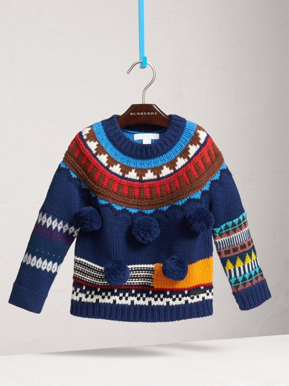 Pom-pom Fair Isle Wool Cashmere Sweater in Navy/red - Girl | Burberry Singapore - cell image 2