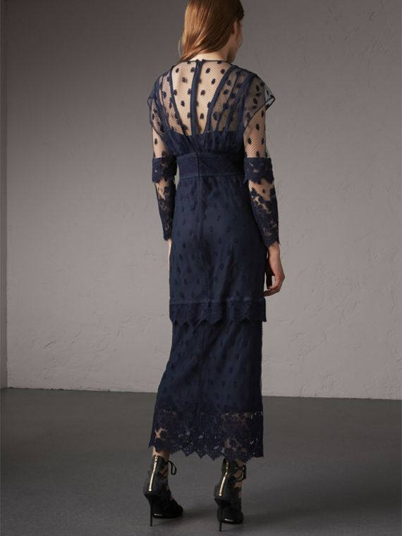 Embroidered Tulle Panel Dress in Navy - Women | Burberry Singapore - cell image 2