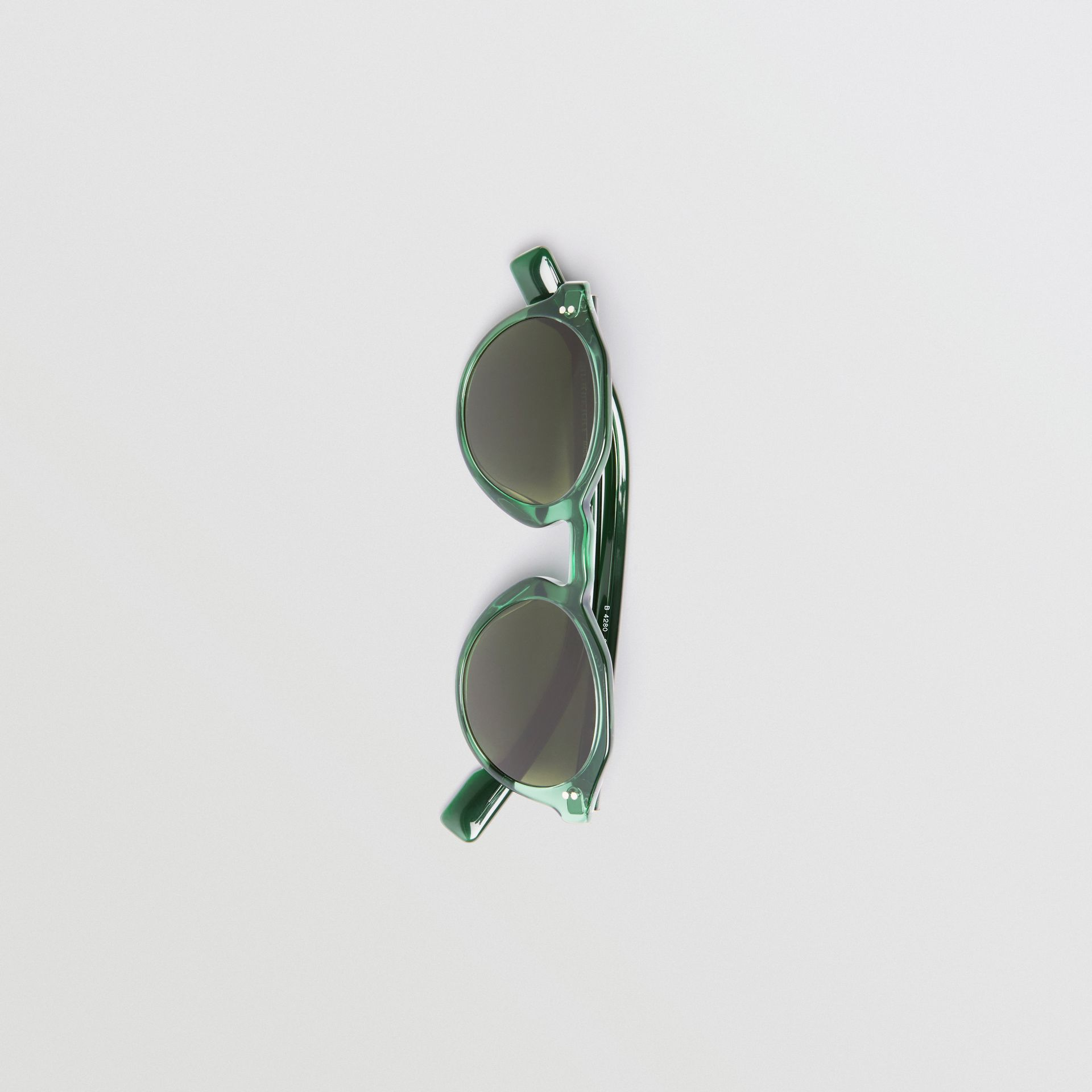 Keyhole Round Frame Sunglasses in Green - Men | Burberry United Kingdom - gallery image 3